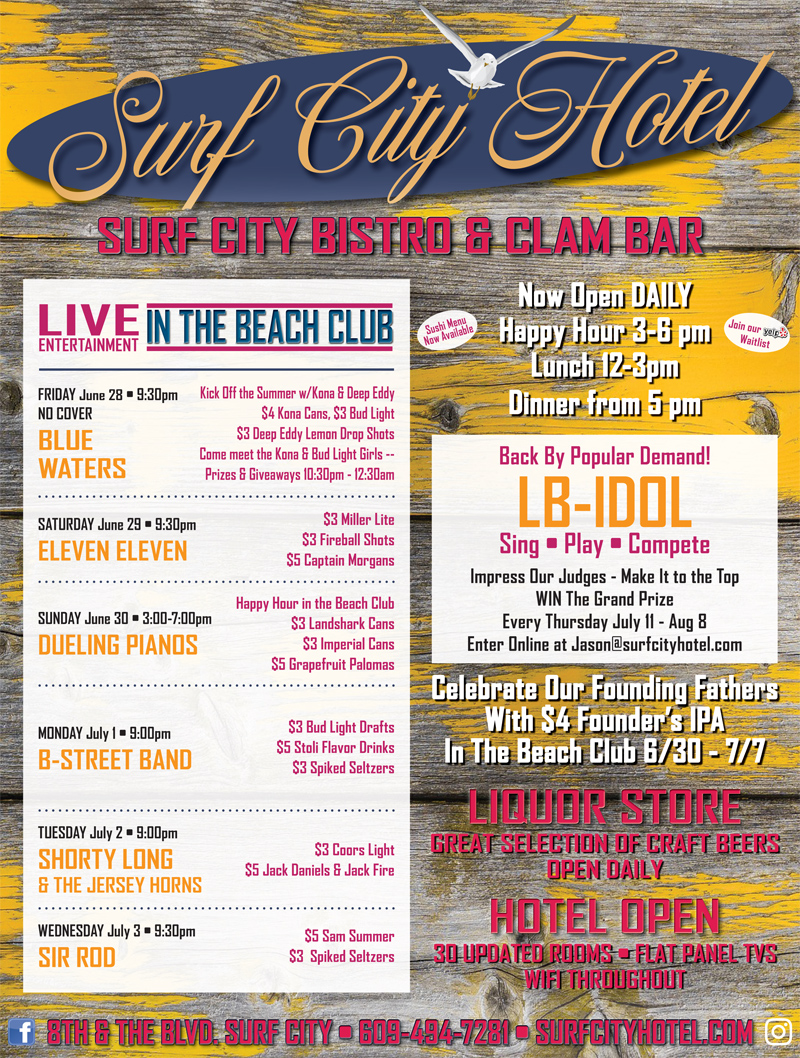 happy hour live music on memorial day weekend at surf city hotel