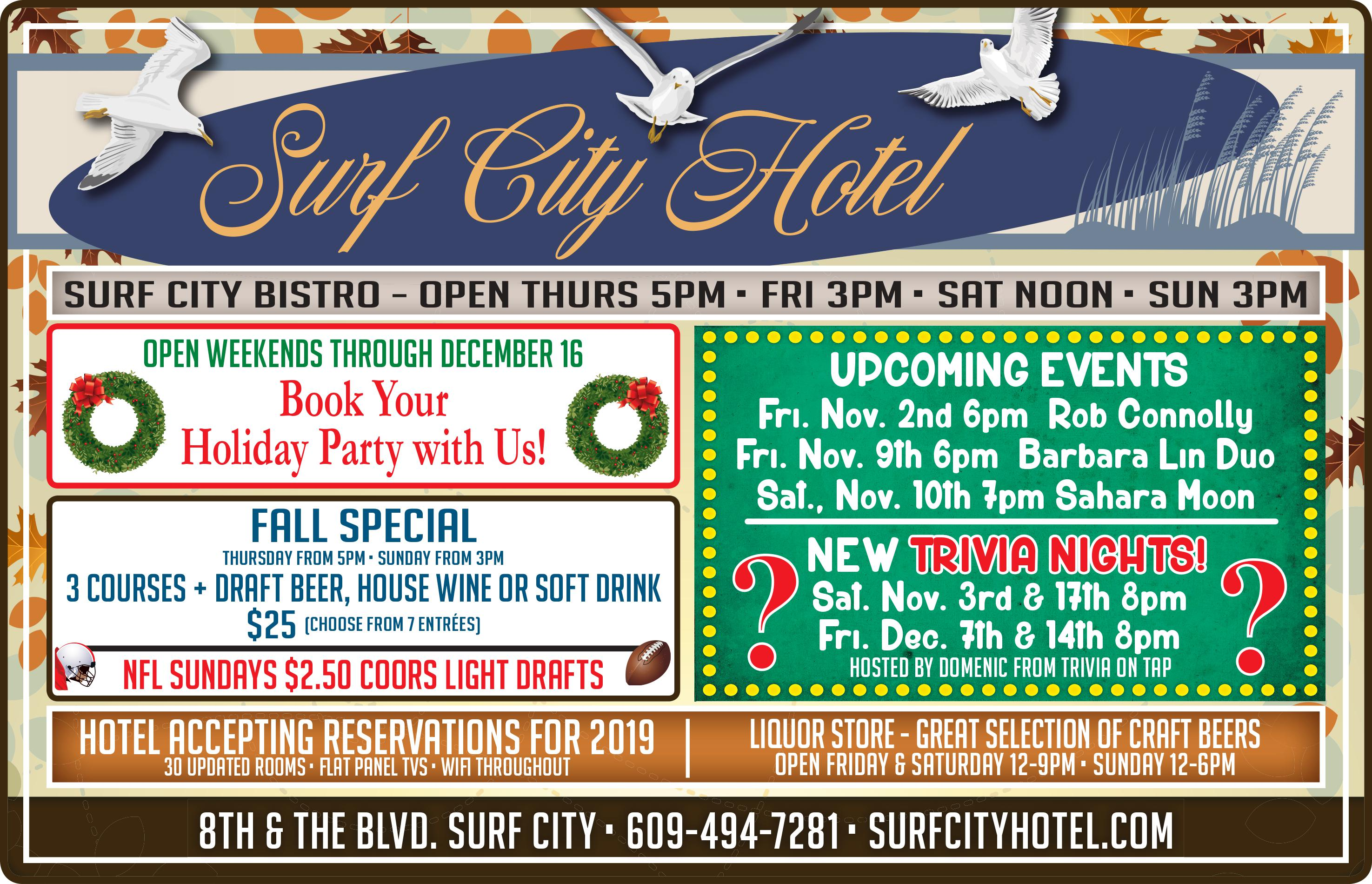 Surf City Hotel events 2018